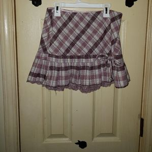 Dresses & Skirts - Purple Plaid skirt with bow and lace trim adorable